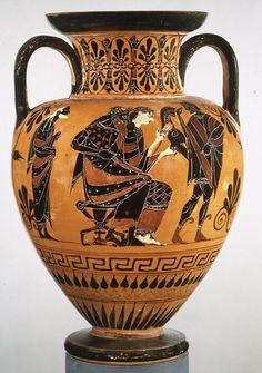 Unknown Artist, Greek Terracotta Neck Amphora (jar), Archaic, ca. 520 B.C., 13 7/8in. (35.3cm), terracotta, black-figure