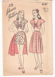 Vintage Sewing Pattern 1940's Playsuit Blouse Shorts by Mrsdepew, $32.00
