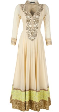 Light beige embroidered kurta - Featuring a light beige kurta with zardosi and badla work around the neck and borders. It comes along with a churidaar and green coloured net dupatta. - ANEESH AGARWAAL