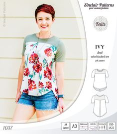 Pdf sewing pattern - Sinclair Patterns - Ivy knit tee with yoke for women patterns for women tops Vogue Patterns, Mens Sewing Patterns, Plus Size Sewing Patterns, Clothing Patterns, Pdf Patterns, Clothing Ideas, Sewing Clothes, Diy Clothes, Sewing Coat