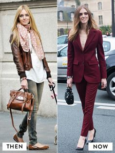 Chiara Ferragni of The Blonde Salad style evolution from a printed scarf, brown leather jacket, jeans, and studded flats to a sophisticated burgundy pantsuit