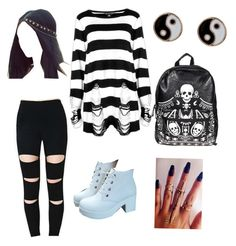 """""""black&white"""" by destiny-panos ❤ liked on Polyvore"""