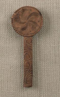 Pennsylvania lollipop butter mold w/philphlot decoration; 19th Century