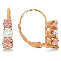 Allurez Three-Stone Leverback Diamond & Morganite Earrings 14k Rose... (36,350 MXN) ❤ liked on Polyvore featuring jewelry, earrings, dangle earrings, rose gold diamond jewelry, earring jewelry, 14 karat gold diamond earrings and 14k diamond earrings