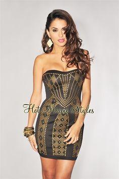 $59.99 Black Golden Studded Bodice Strapless Dress