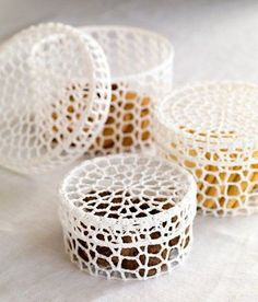 Beautiful Crochet Trinket Boxes .
