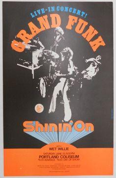 Grand Funk Concert Poster - at Portland's Memorial Coliseum 1974