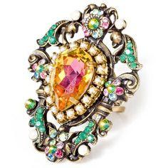 Michal Negrin Flower - Vintage Ring Swarovski Crystal