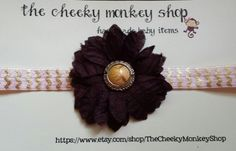 Pink and gold chevron with dark pink flower headband by TheCheekyMonkeyShop on Etsy