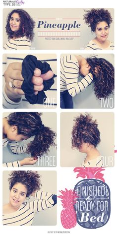 Curly Hair How To | Pineapple!  Great way to preserve your curls overnight! No more smooshed curls!