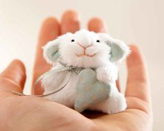Adorable little miniature bunny, all handmade with rotating head and arms. From JuliaWine's etsy shop. http://www.etsy.com/listing/93196343/little-bunny-miniature-bunny-rabbit