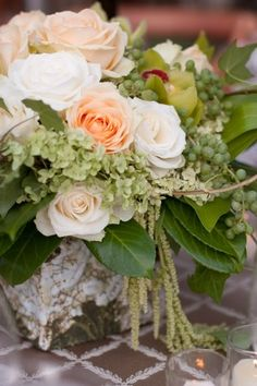 Rose-Hydrangea-Wedding-Centerpiece  ...Like the ratio of greenery in this arrangement