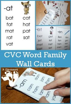 These CVC Word Family Wall Cards are very fun to use. One of the first sets of words you start learning to read and CVC word family words. There are three letters together that have simple and easy sounds for Phonics Reading, Teaching Reading, Reading Comprehension, Learning Phonics, Phonics Activities, Word Family Activities, Name Writing Activities, Reading Resources, Cvc Word Families