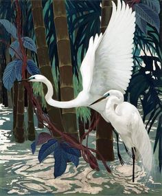 View Egrets by Jessie Arms Botke on artnet. Browse upcoming and past auction lots by Jessie Arms Botke. Illustrations, Illustration Art, Nicolas Vanier, Motifs Animal, Art Graphique, American Artists, Beautiful Birds, Beautiful Swan, Jessie
