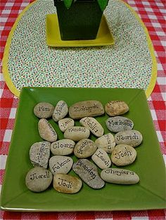 snack stones - loving this idea. These Snack Stones help the children with name recognition and to reserve their space at the snack table while they are washing their hands and/or preparing snack. Classroom Organisation, Classroom Management, Classroom Ideas, Classroom Activities, Reggio Emilia, Emergent Curriculum, Montessori Classroom, Montessori Education, Montessori Activities