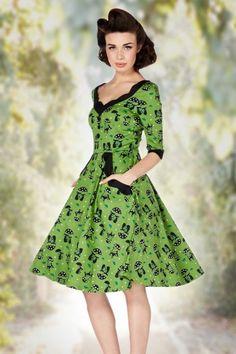 Vixen 50s Jace Black Cat Swing Dress Jade Green 102 49 15536 20150330 0008W2