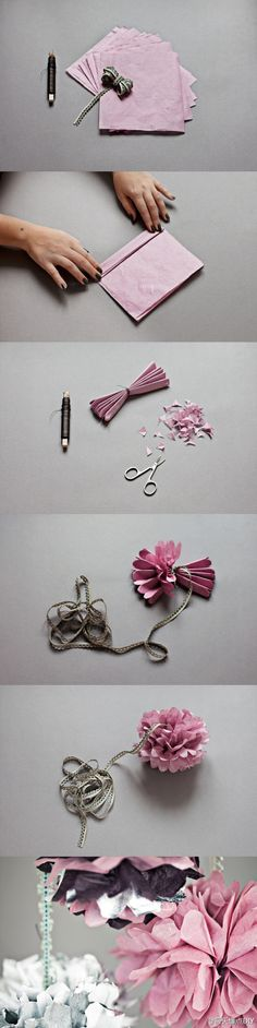 This I show to make really pretty flowers to put in your room, hair, car etc. I love the idea of these. Their so simple but so effective!xoxo