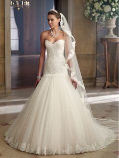 Sheath/Column Sweetheart Sleeveless Court Train White Tulle Wedding Dress WS1265