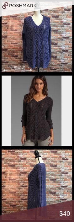"Free People Cable Knit Cross My Heart Sweater Free People Cable Knit Cross My Heart Sweater in a size small.  V-neck.  Has a high low rounded hem with raw edge fringe.  Oversized fit.  Beautiful dark purple color.  Measures approximately 22 1/2"" armpit to armpit, 26"" in length in the front, and 29"" in length in the back.  100% cotton.  In excellent condition. Free People Sweaters V-Necks"
