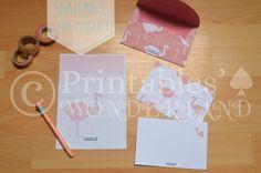 Stationery set - Ensemble de correspondance - Flamingo - Postcards, paper, envelope