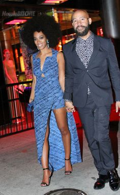Solange and Alan leaving The Met afterparty