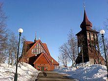 Iglesia de Kiruna, una de las ciudades más septentrionales de Suecia.