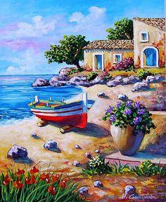 Beautiful Nature Wallpaper, Beautiful Paintings, Mediterranean Paintings, Artist Art, Art Oil, Landscape Paintings, Amazing Art, Watercolor Paintings, Art Projects