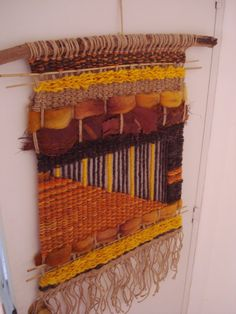 Items similar to Large Handmade Woven Tapestry on EtsyFinishing the Evening News in Craft: How to complete your Afghan in the Evening NewsHandmade woven tapestry by Krista Record. Weaving Loom Diy, Weaving Art, Tapestry Weaving, Hand Weaving, Weaving Wall Hanging, Tapestry Fabric, Art Textile, Weaving Textiles, Weaving Projects