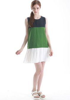 FYVFYV Color Block Pleats Dress @fyvfyv