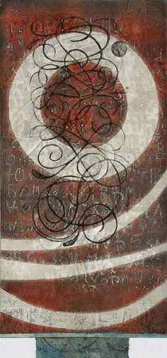 "Coming Full Circle, by Anne Moore, monotype, 21.5""X 10"""