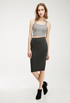 Stretch-Knit Pencil Skirt | Forever 21 Canada