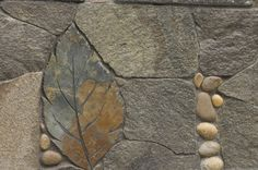 Pebble Mosaic & Carved Leaf