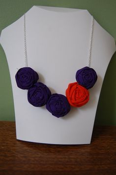 Purple & Orange Team Colors Rosette Necklace  by sewsimplesewjess