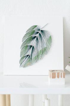 DIY obrázek listu. DIY botanical string art.