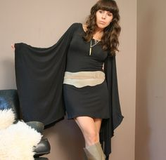 tunic dress with huge kimono sleeve in viscose of bamboo  - made to order