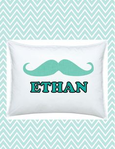 Personalized Mustache Kids Pillowcase, Happy Movember, #funkymonkeythreads, #FMT