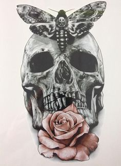 Tattoo Sticker 21 X 15 CM Skull With Moth And Flower Waterproof Hot Temporary #tattooremovalproducts