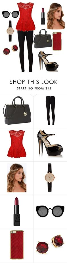 """""""Untitled #6"""" by manarabed ❤ liked on Polyvore featuring beauty, Michael Kors, AG Adriano Goldschmied, Brian Atwood, Lulu*s, Barbour, NARS Cosmetics, Quay and Lauren Ralph Lauren"""