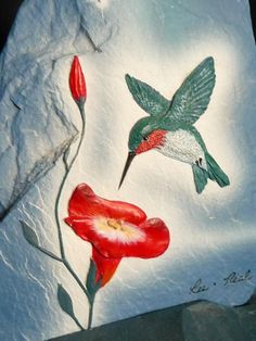 Hummingbird Hand Painted on Slate Plaque & Stand Signed Lee.Neal 5 1/2""