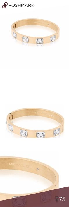 LOWEST! Michael Kors gold toned crystal bracelet NWT - never worn - still in box with tags attached.   Finish any outfit with some major sparkle with this gold-tone Michael Kors hinged bangle bracelet. The wide, polished cuff is set with five large, radiant-cut crystals. Stainless Steel, Glass Polished Inner Diameter: 2.4'' Width: 0.35'' Push Button Closure 100% authentic - have receipts and willing to have poshmark authenticate for you. i am a poshmark ambassador and would not risk that to…