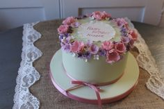 Floral birthday cake pretty delicate flowers