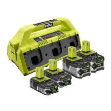 Ryobi One+ SuperCharger and 4 Lithium-Ion Batteries Kit Ryobi Battery, Cordless Hammer Drill, Aquaponics System, Impact Wrench, Impact Driver, Lead Acid Battery, Drill Driver, Chemistry, Outdoor Power Equipment