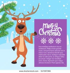 Reindeer cartoon showing or holding blank billboard with winter background and fir tree leaf. Merry christmas calligraphy and snowflakes. Empty place for your design.