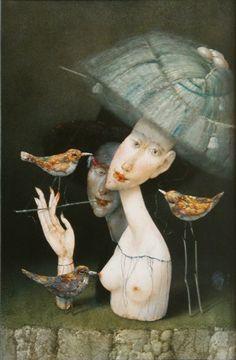 Janda Zdenek  Dáma s mìdìnými ptáky Portfolio, Garden Sculpture, Studios, Fish, Pets, Gallery, Outdoor Decor, Painting, Animals