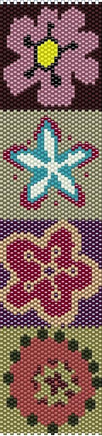 ESQUEMA MANCHETE de PERLEAQUA #beading #beadwork #pattern #mosaic #peyote