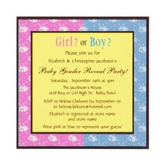 Baby gender reveal invites with cute pink and blue bunny rabbits. Easy to customize. Decorated on both sides. $1.90. Good volume discounts. #teamgreen #babygenderreveal #genderreveal