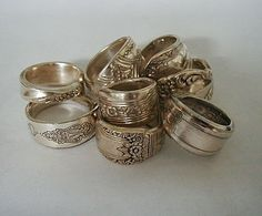 8 Silver Spoon Rings Recycled Spoons by LTCreatesJewelry on Etsy, $99.00