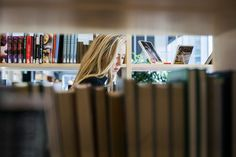 Woman browsing in a library