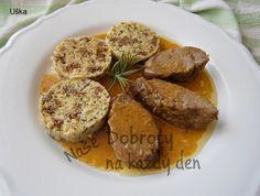 Kančí marinovaná kotleta s máslovou šťávou Sausage, French Toast, Pork, Meat, Breakfast, Foods, Kale Stir Fry, Morning Coffee, Food Food