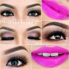 "Vibrant Pink Makeup Look   Product used :  Eyes : NAKED 3 palette , ""Buzz"", ""Burnout"", ""Nooner"", ""Limit"", ""Darkside"" & ""Blackheart"".- @ auraure"